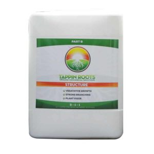5 gallon jug of Tappin' Roots Organic Commercial Solutions Structure Part B