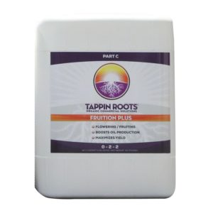 5 Gallon jug of Tappin' Roots Organic Commercial Solutions - Fruition Plus (Part C) with front label